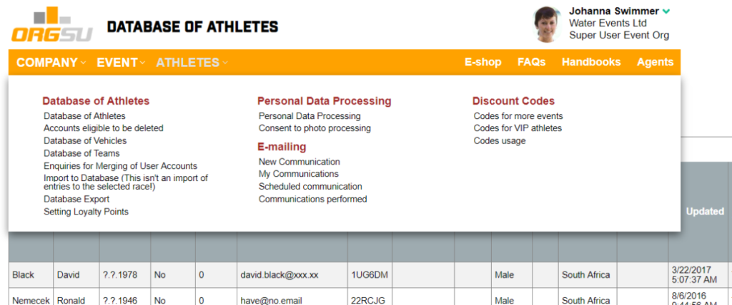 ORGSU gives you athlete database and a lot of features above it