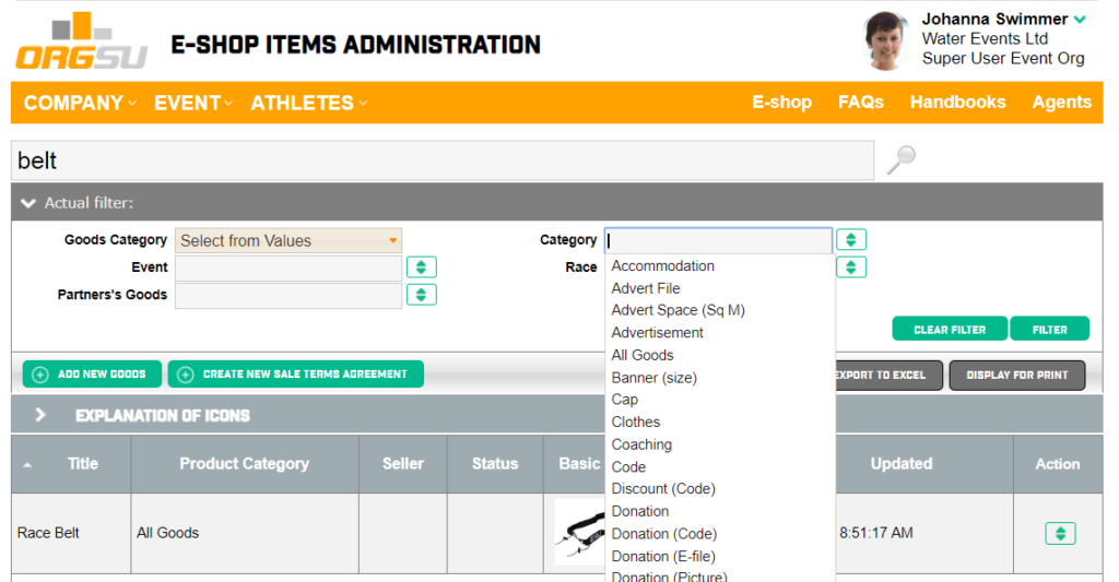 Sports E-shop Module is available inside the ORGSU technology ready to boost your website.