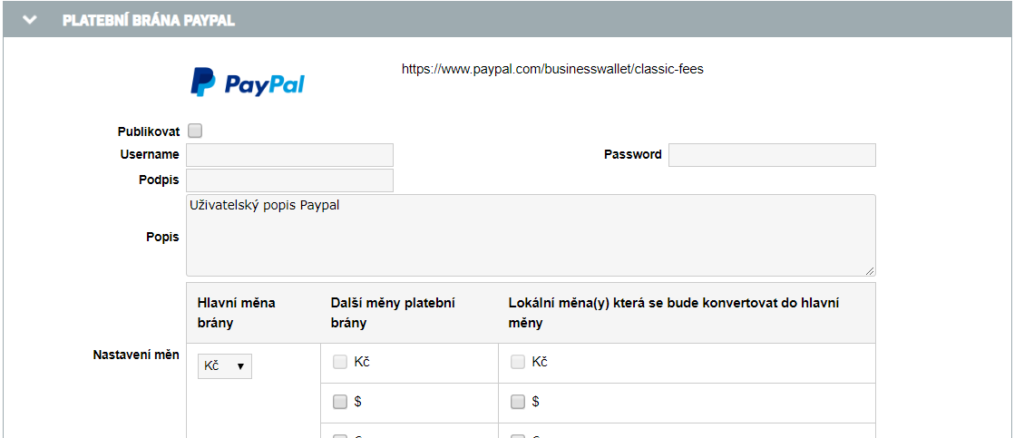 Konfigurace API na PayPal v ORGSU