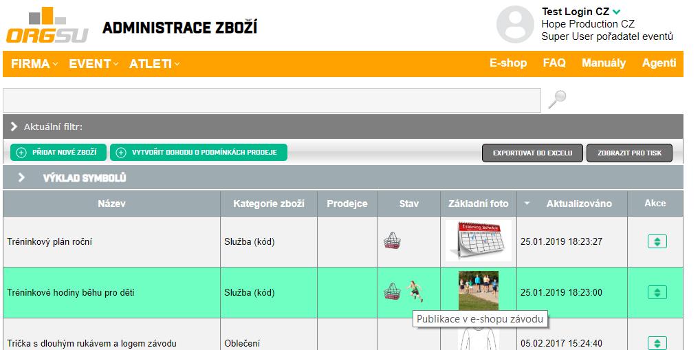 Administrace zboží v ORGSU přidává zboží pro e-shop na web závodu