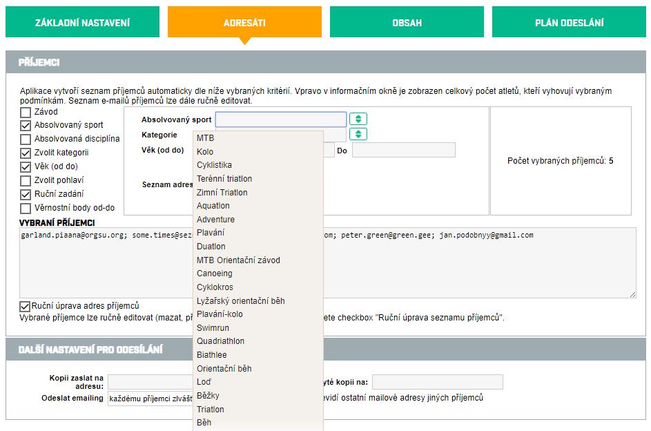 Výběr adresátů pro email marketing pozvánka na závod v administraci ORGSU