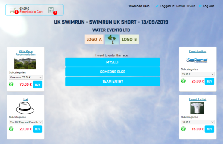 Event E-shop and Race Entries Selection on one page